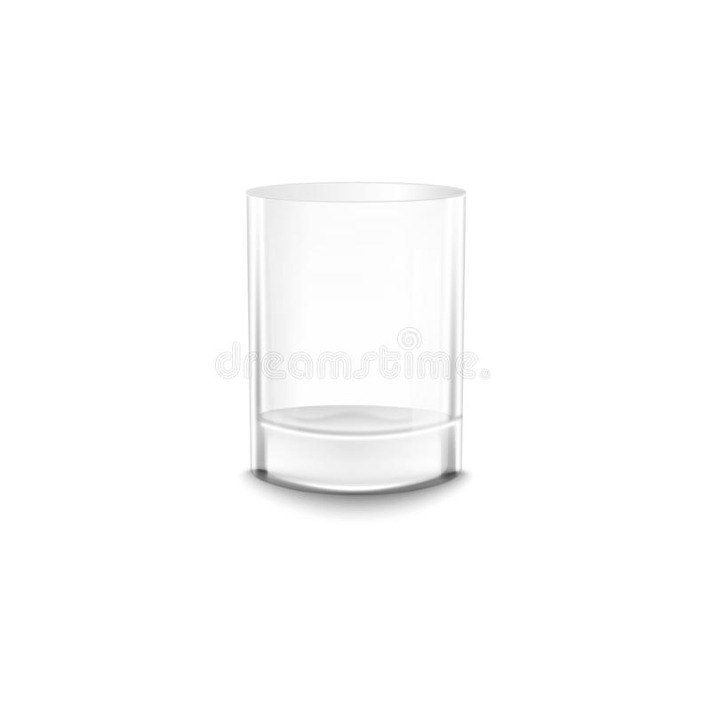 Crystal empty water or alcohol glass realistic vector mockup illustration isolated. royalty free illustration