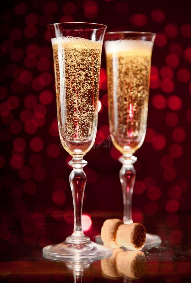 crystal exponeringsglas två för champagne royaltyfri bild