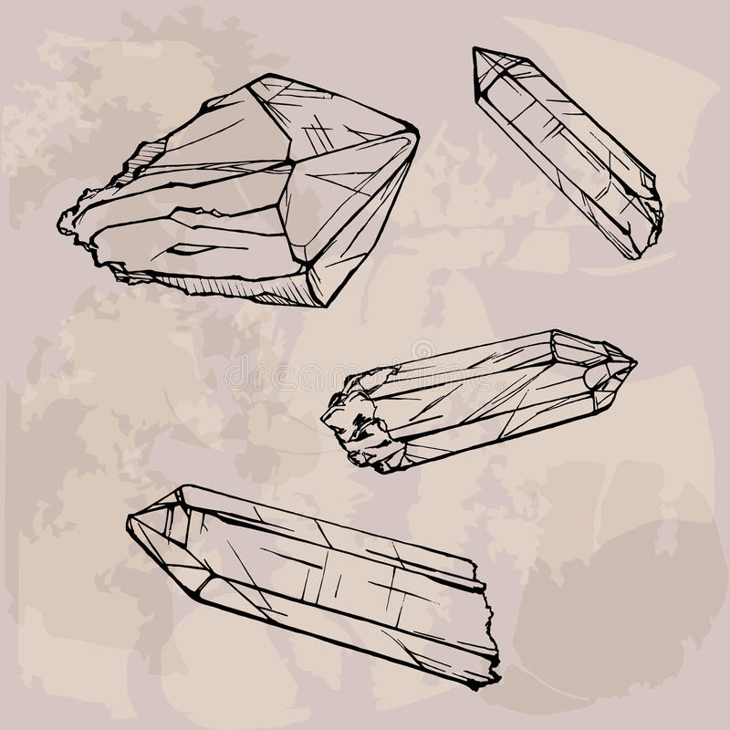 Crystal gems sketch illustration royalty free illustration