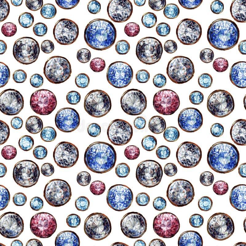 Crystal gemstone seamless pattern. Diamond adamant ruby sapphire stones gems gold. Shiny fashion white background. Raster. Illustration stock illustration