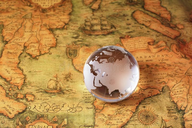 Crystal Global on old map stock images