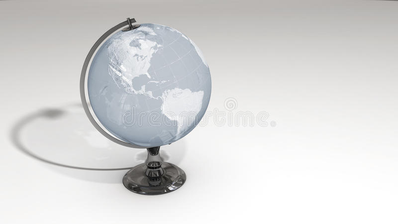 A crystal globe on a chrome pedestal over white royalty free illustration