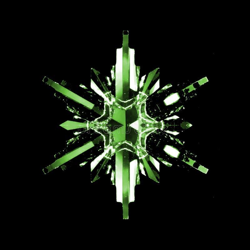 crystal grön snowflake arkivbild