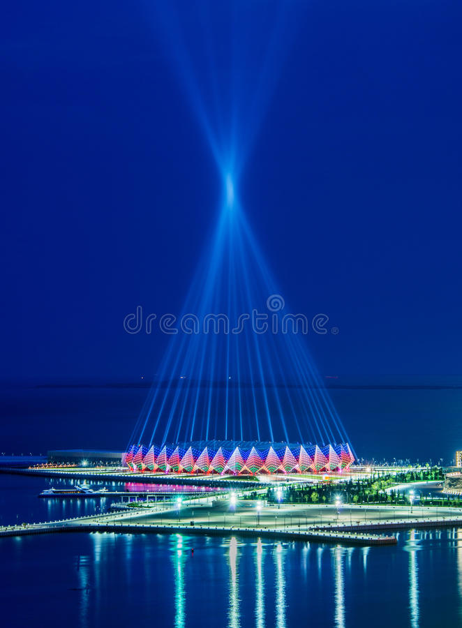Crystal Hall in Azerbaijan, Bak. Baku - JUNE 11, 2014: Crystal Hall on June 11 in Azerbaijan, Baku. Crystal Hall hosted Eurovision song contest in 2012 royalty free stock photo