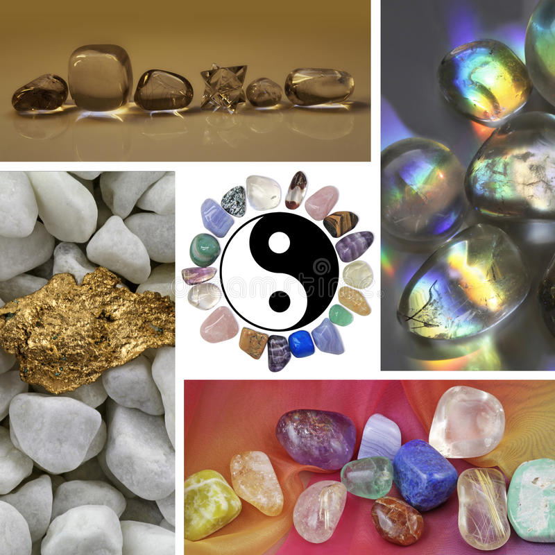 Crystal Healing Collage. Four images of different healing crystals and minerals surround a central yin yang symbol with a circle of stones for a border stock images
