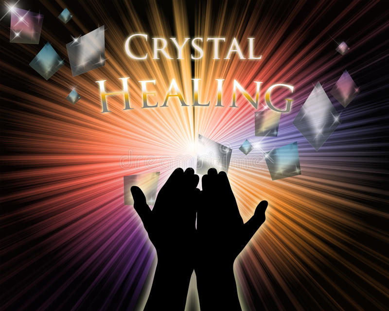 Crystal Healing hands royalty free stock photo