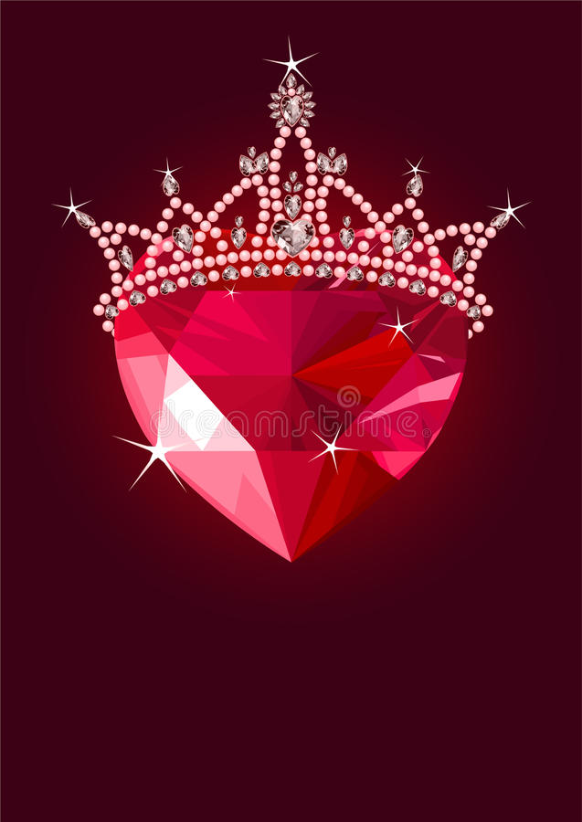 Crystal Heart With  Crown Stock Image