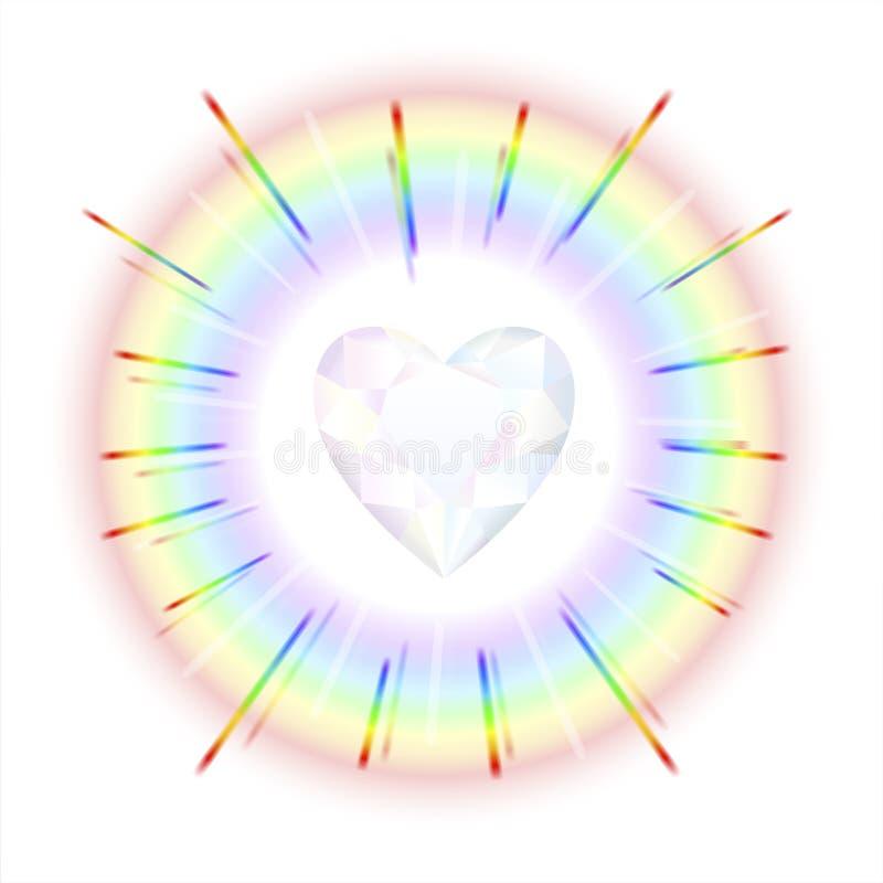 Crystal Heart Rainbow stock illustratie
