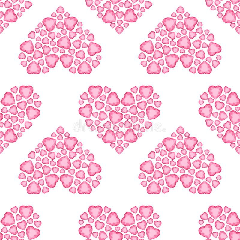 Crystal Heart vector seamless pattern. Background With Heart. Happy Valentine Pattern. Wedding pattern. Crystal Heart seamless pattern. Background With Heart royalty free illustration
