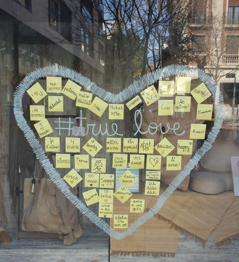 Crystal Heart yellow. Crystal heart in showcase of commerce an autumn royalty free stock photo