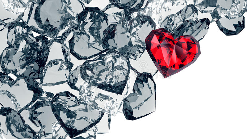 Crystal hearts royalty free stock images