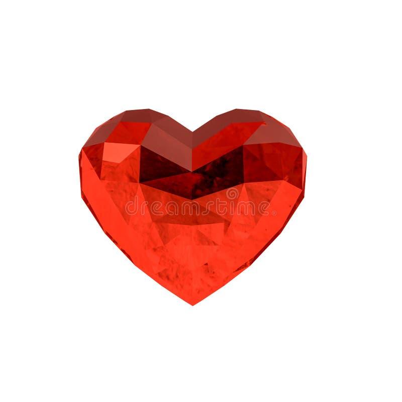 Crystal hjärta som isoleras på vit vektor illustrationer