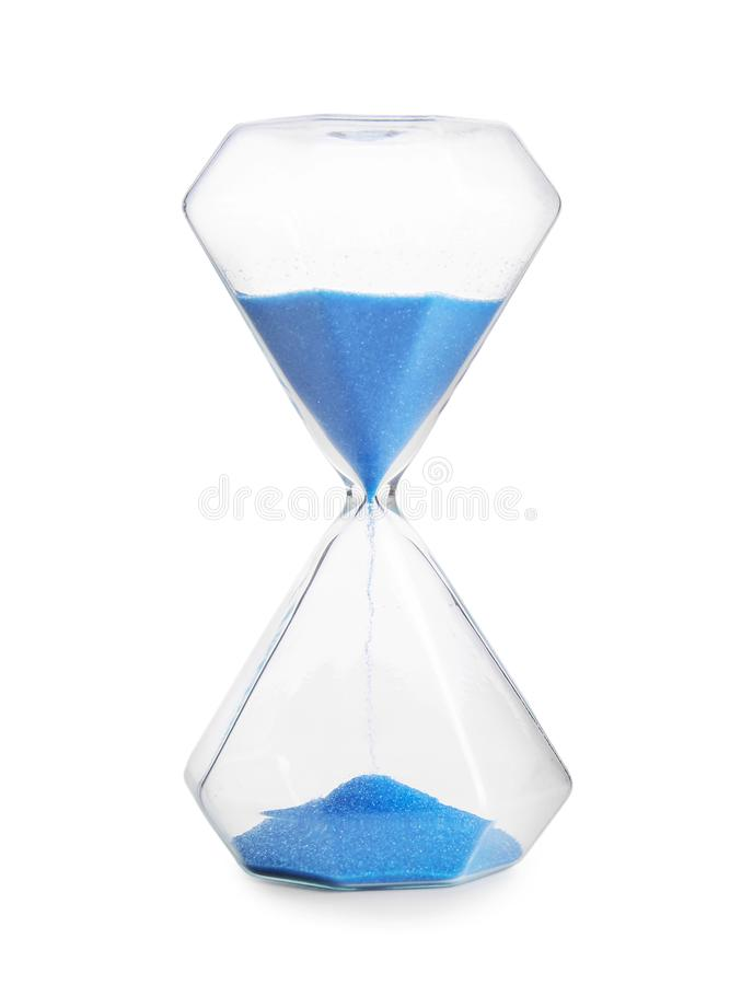 Crystal hourglass on white background stock photography
