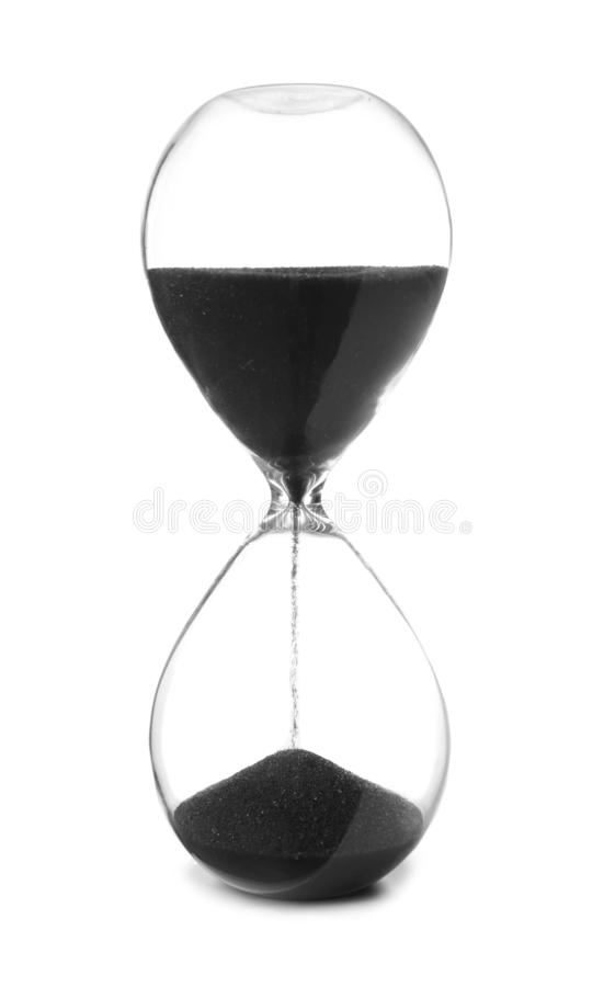 Crystal hourglass on white background royalty free stock photos