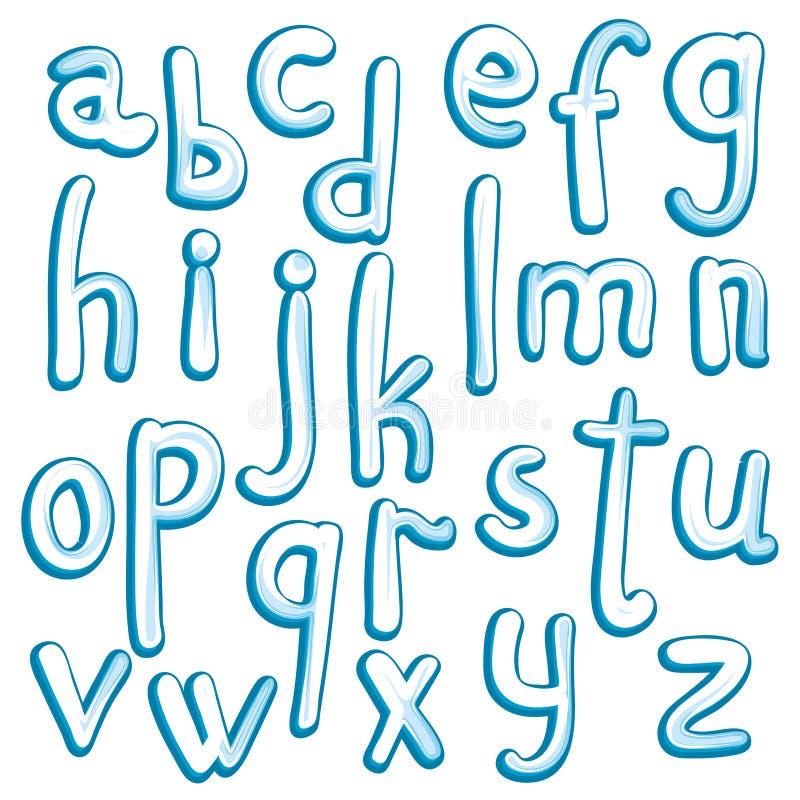 Crystal ice type font alphabet. stock illustration