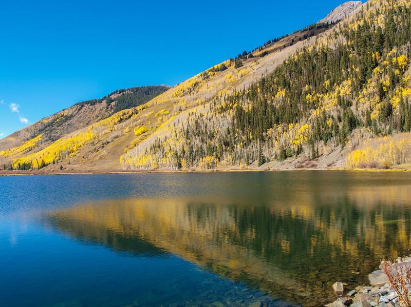 Crystal Lake along the Million Dollar Highway. Crystal Lake on Red Mountain Pass is just off the Million Dollar Highway between Ouray and Silverton, Colorado royalty free stock photos
