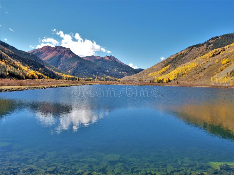 Crystal Lake along the Million Dollar Highway. Crystal Lake on Red Mountain Pass is just off the Million Dollar Highway between Ouray and Silverton, Colorado royalty free stock photography
