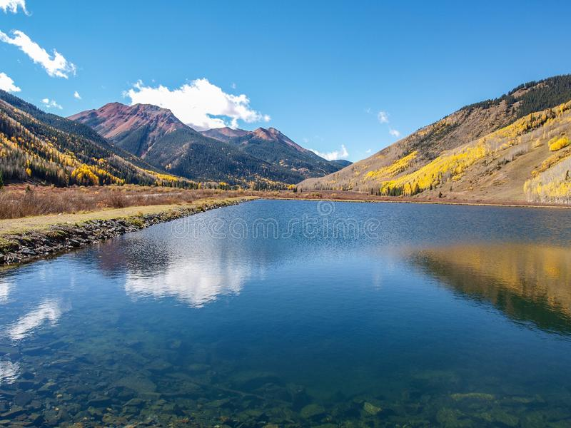 Crystal Lake along the Million Dollar Highway. Crystal Lake on Red Mountain Pass is just off the Million Dollar Highway between Ouray and Silverton, Colorado stock images