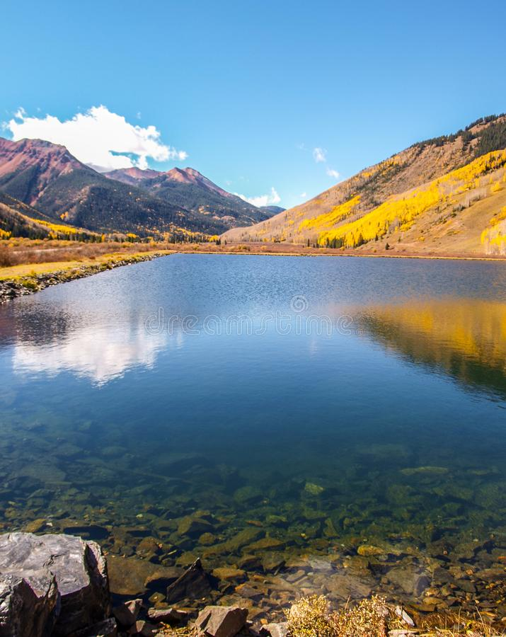Crystal Lake along the Million Dollar Highway. Crystal Lake on Red Mountain Pass is just off the Million Dollar Highway between Ouray and Silverton, Colorado stock photography