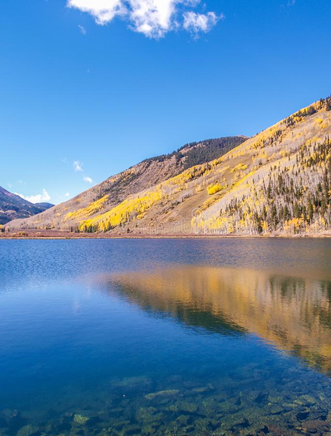 Crystal Lake along the Million Dollar Highway. Crystal Lake on Red Mountain Pass is just off the Million Dollar Highway between Ouray and Silverton, Colorado royalty free stock image