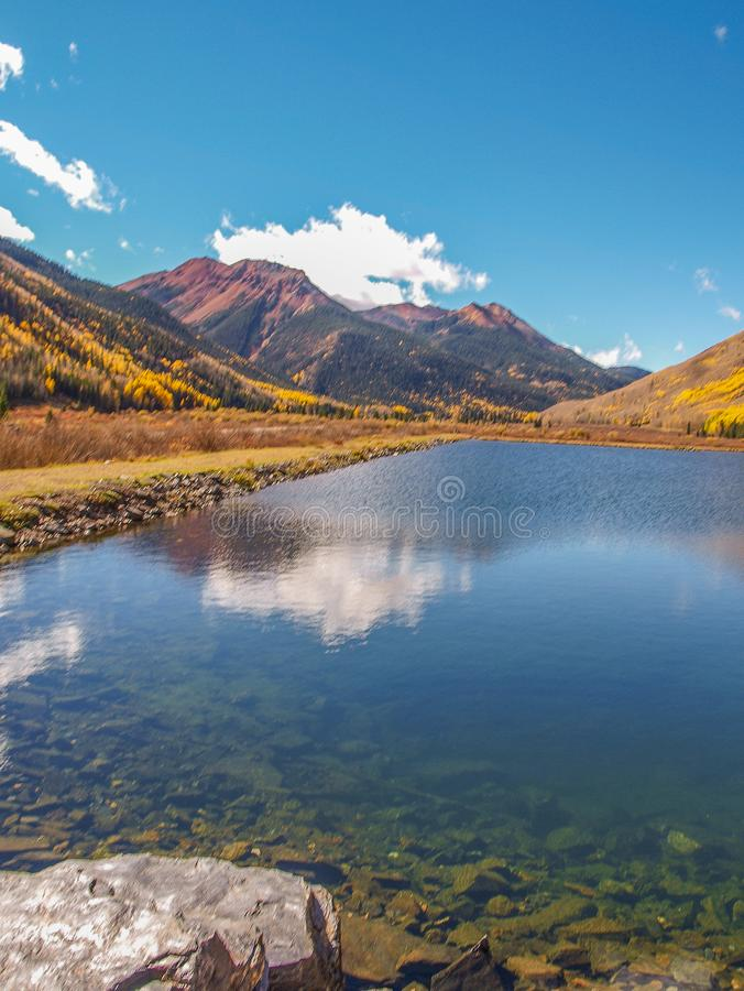 Crystal Lake along the Million Dollar Highway. Crystal Lake on Red Mountain Pass is just off the Million Dollar Highway between Ouray and Silverton, Colorado stock photo