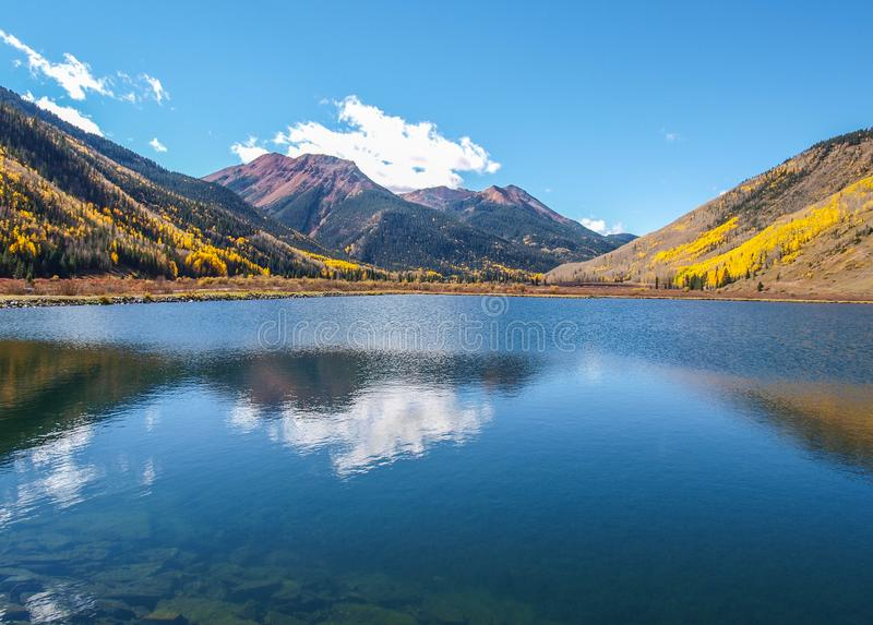 Crystal Lake along the Million Dollar Highway. Crystal Lake on Red Mountain Pass is just off the Million Dollar Highway between Ouray and Silverton, Colorado royalty free stock photo