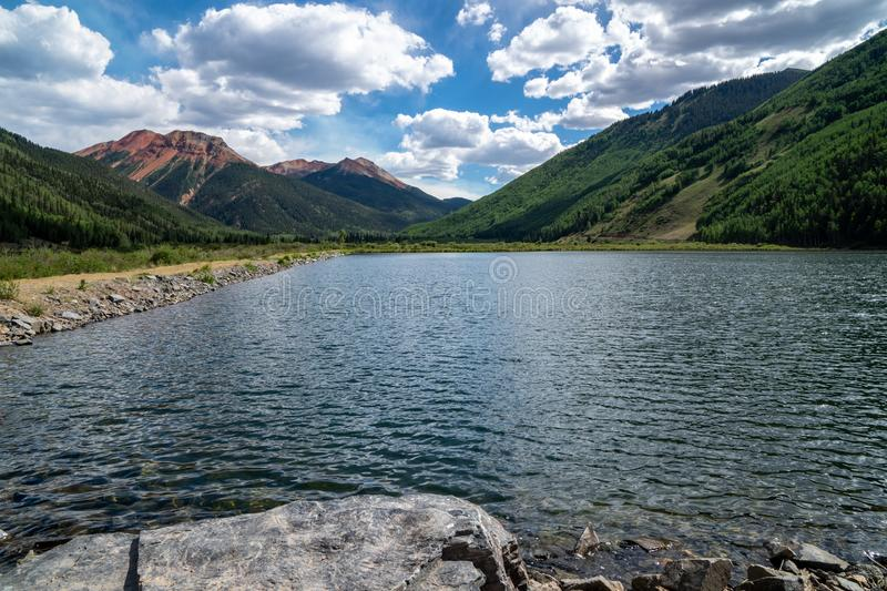 Crystal Lake in Colorado, along the Million Dollar Highway near Silverton and Ouray in the San Juan Mountains. Sunny summer day royalty free stock image