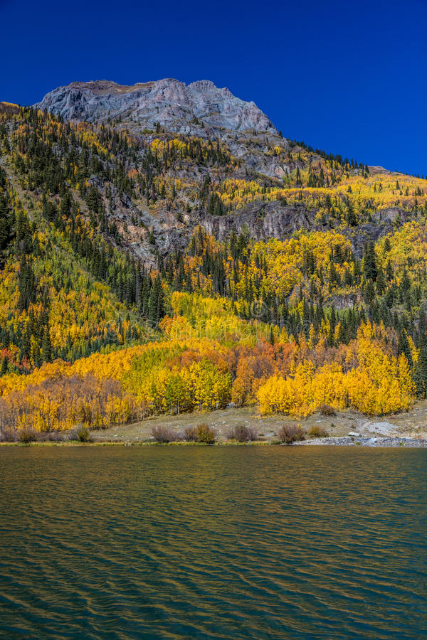 Crystal Lake, off State Route 550 between Silverton and Ouray Colorado in Autumn royalty free stock images