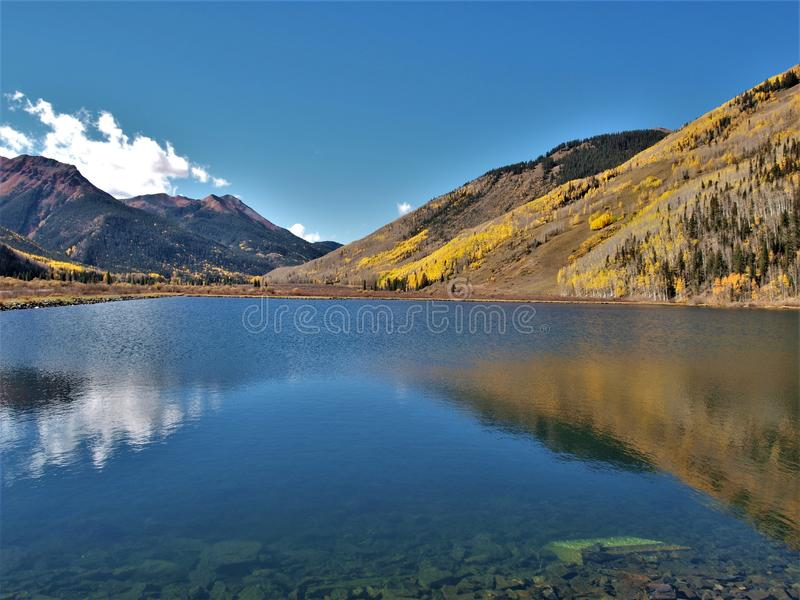Crystal Lake along the Million Dollar Highway. Crystal Lake on Red Mountain Pass is just off the Million Dollar Highway between Ouray and Silverton, Colorado stock photos