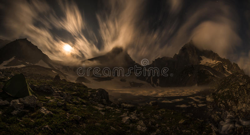 Crystal lake under the moon royalty free stock images
