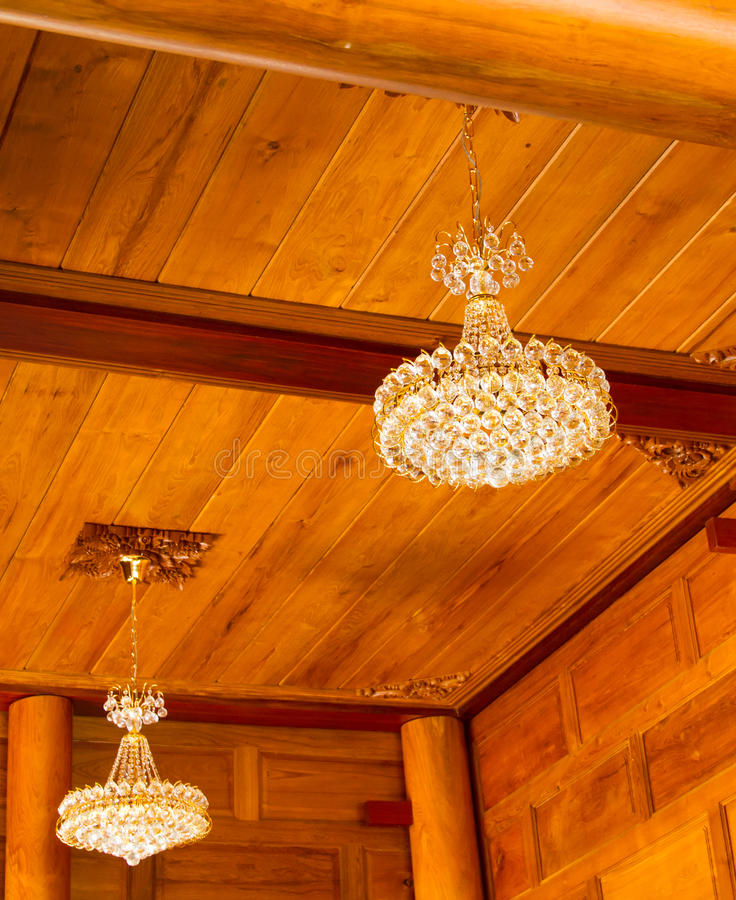 Crystal lamps hung stock photo