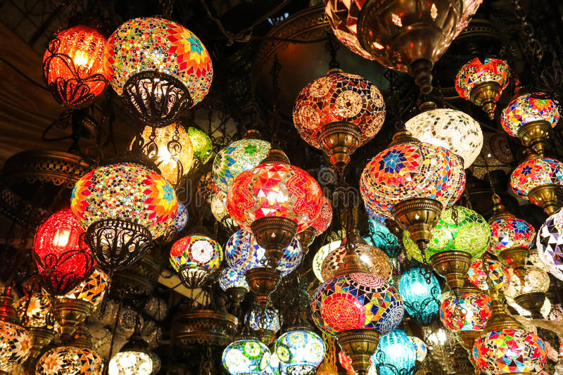 Crystal lamps for sale on the Grand Bazaar at Istanbul stock photos