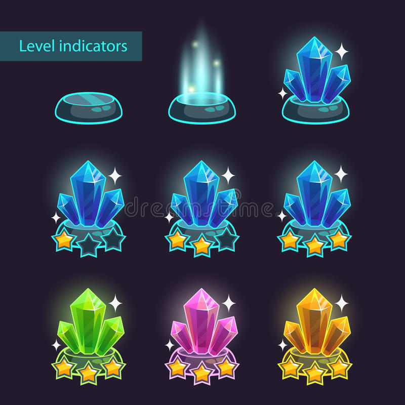 Crystal level pointers vector illustration