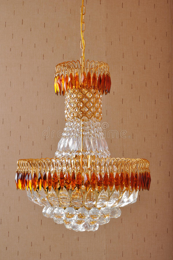 Crystal Chandelier lighting, Luxurious crystal droplight , Home Furnishing decoration , Beautiful and bright Lighting design. Crystal chandelier is decorated In stock photography