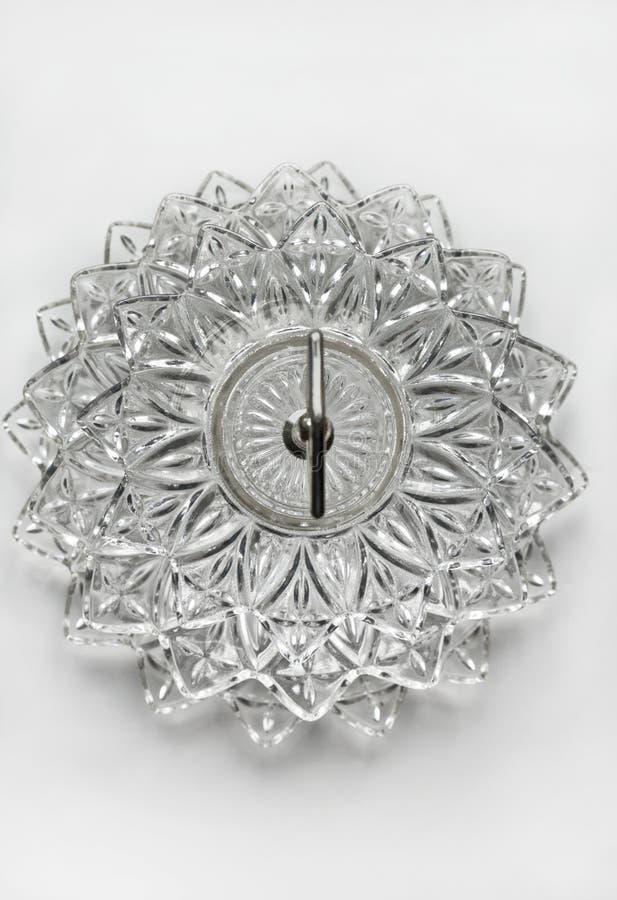 Crystal maträtt med den i lager glass modellen royaltyfria bilder