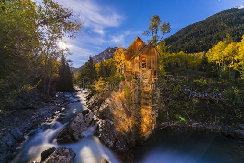 Crystal Mill al paesaggio di Colorado di notte fotografia stock