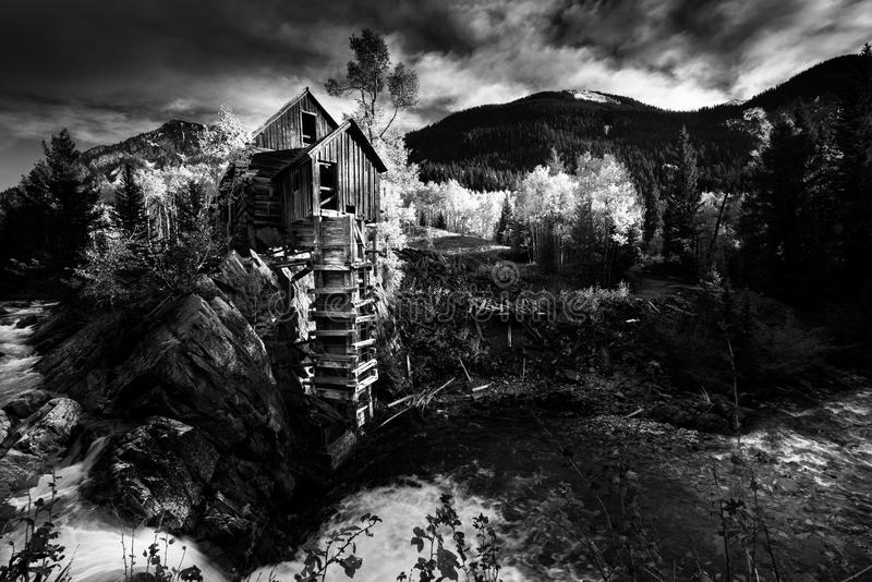 Download crystal mill black and white us landscapes stock photo image of leaves river