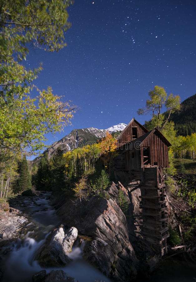Crystal Mill Bright Starry Night Gunnison le Colorado images libres de droits