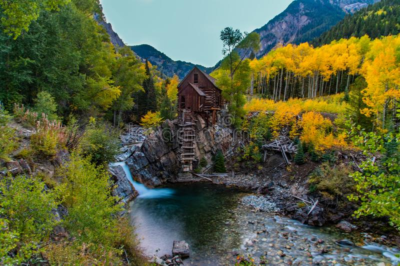 Crystal Mill During Fall Colors iconico fotografie stock