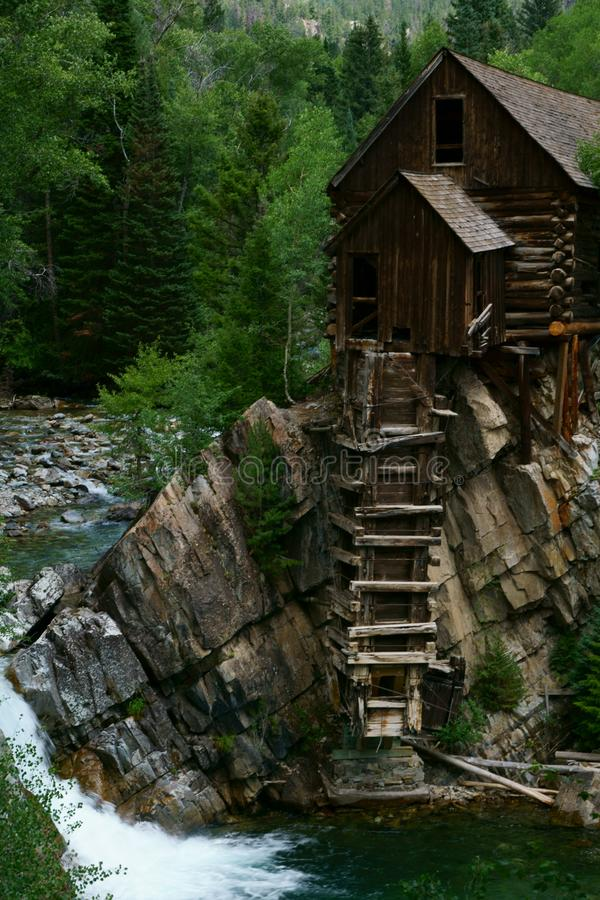 Crystal Mill sits in a remote mountain canyon near Marble, Colorado stock photography