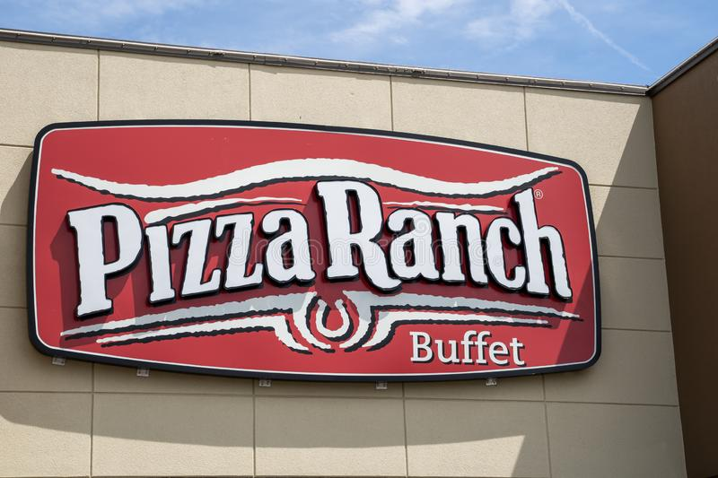Crystal, Minnesota - July 21, 2019: Exterior of a Pizza Rach pizza buffet restaurant. These buffets are known for their old west. Theming and decor stock photos