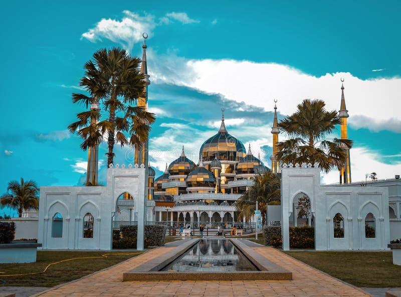 Crystal Mosque at sunset in Kuala Terengganu, Malaysia stock images