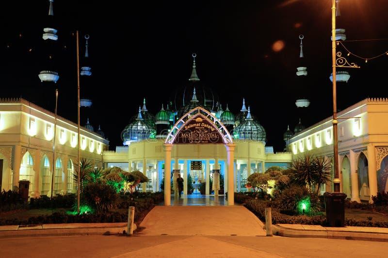 Crystal Mosque in Terengganu, Malaysia at night royalty free stock photography