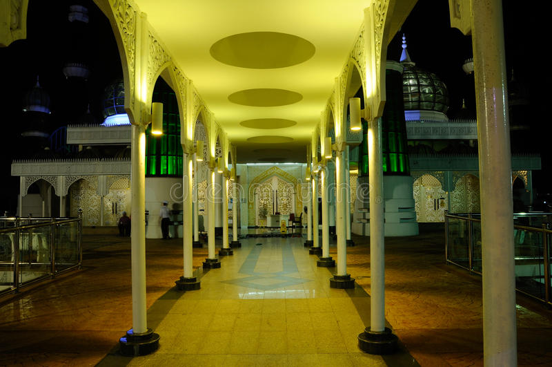 Crystal Mosque in Terengganu, Malaysia at night royalty free stock photo
