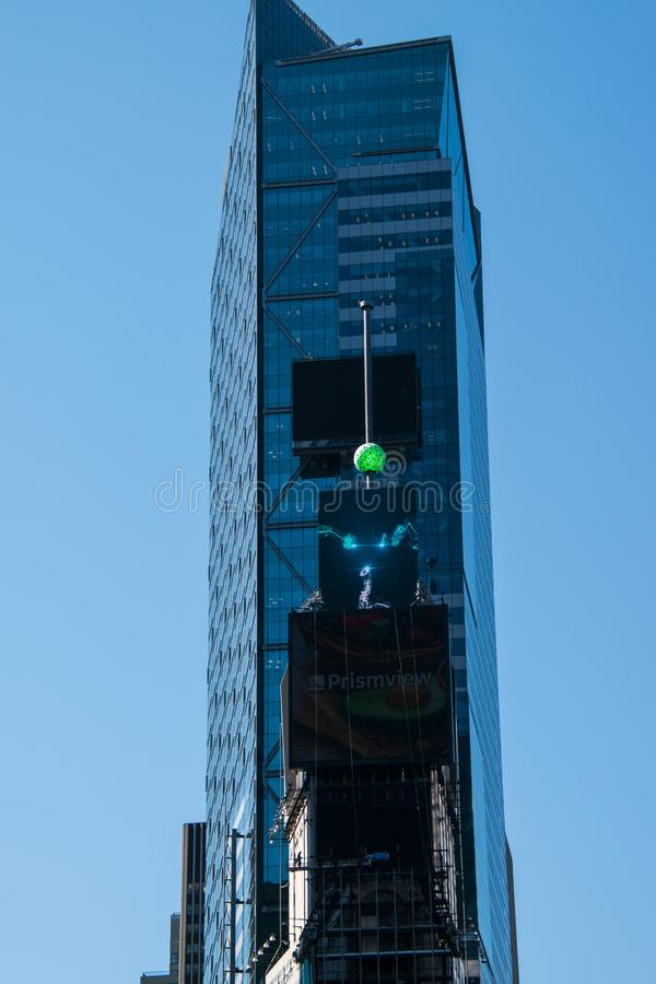 The crystal New Year`s Eve Ball on a pole on the one Times Square Building in New York City stock image