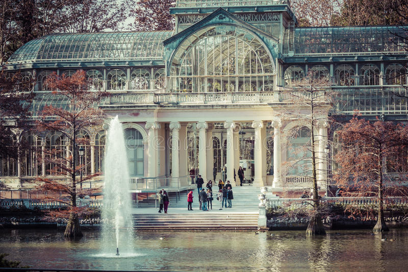 Crystal Palace (Palacio de cristal) in Retiro Park, Madrid, Spain royalty free stock images