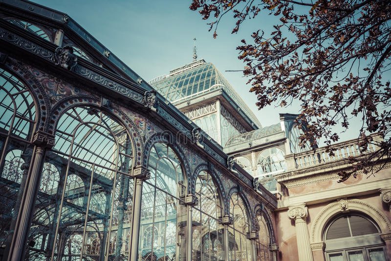Crystal Palace (Palacio de cristal) in Retiro Park,Madrid, Spain stock images