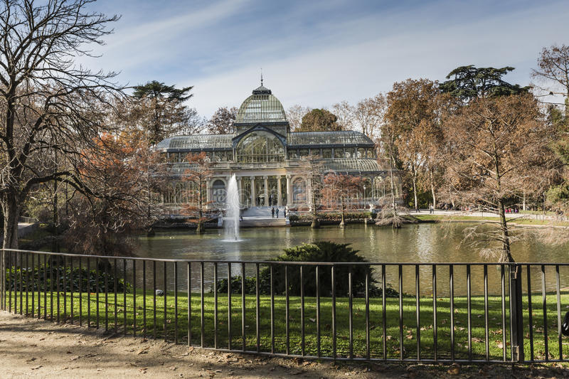 Crystal Palace (Palacio de cristal) in Retiro Park,Madrid, Spain royalty free stock images