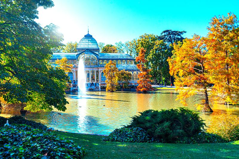 Crystal Palace or Palacio de cristal in Retiro Park in Madrid, Spain. royalty free stock photography