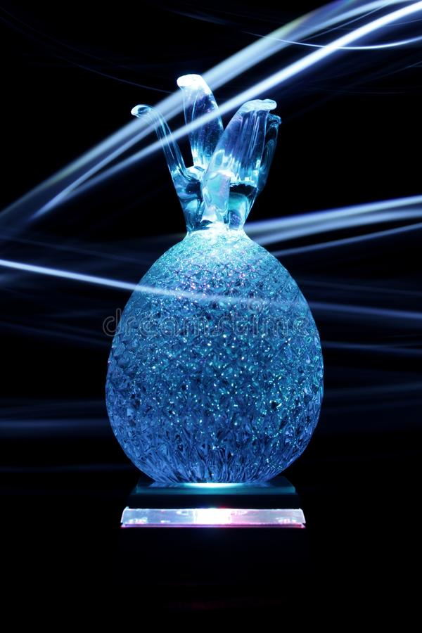 Crystal pineapple in light painting stock photos